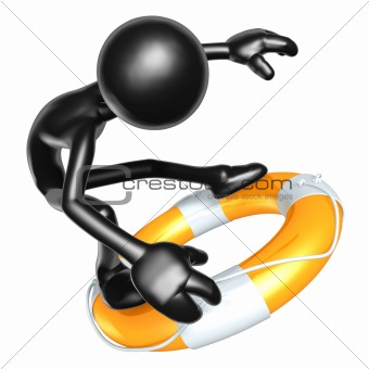 3D Character With Lifebuoy