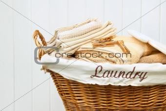 Clean towels in wicker basket