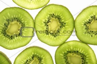 kiwi  transparent slices over white