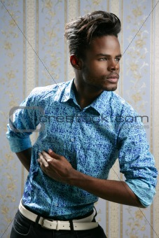 African american fashion model portrait on blue