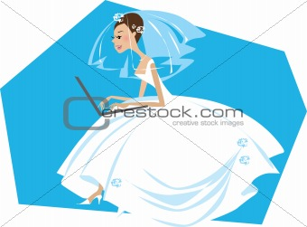 Bride working on a computer