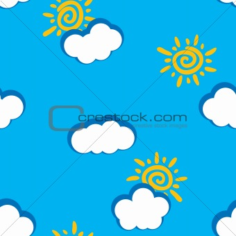 Abstract day clouds background. Seamless.