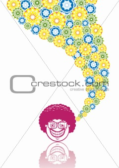 Smiley disco in abstract collage