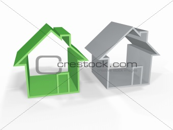 green house and grey one