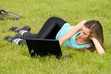 Woman with laptop outdoor