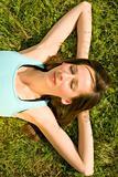 relaxing on grass