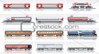 Vector railroad transportation icon set. Part 2