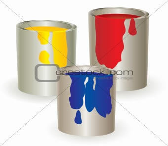 Three containers with yellow, red and blue paint.