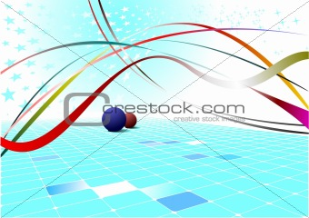 Abstract blue wave background with stars. Vector illustration