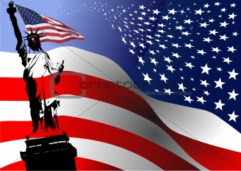 American flag with Liberty  statue  image. Vector illustration