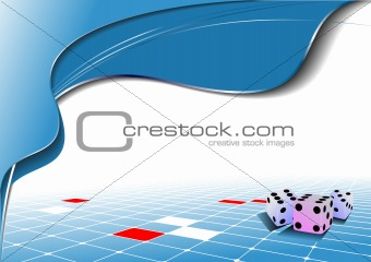 Abstract blue wave background with dices image. Vector illustrat