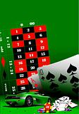 Casino elements with sport car image. Vector illustration