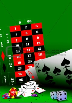 Casino elements on green table. Vector illustration