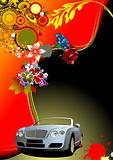 Floral background with cabriolet car image. Vector illustration.