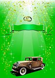Holiday green background with green ribbon and retro car. Vector