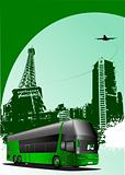 Cover for brochure with urban Paris silhouette and bus image. Ve