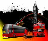 London background with two generations of double Decker  red bus