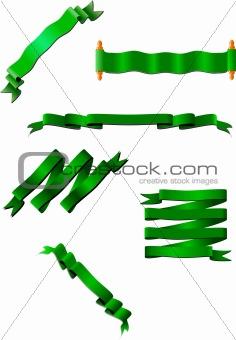 Six green ribbons. Vector illustration