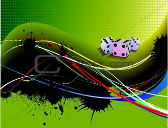 Abstract yellow green wave background with dices image. Vector i