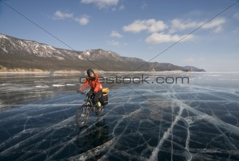 Biker on ice