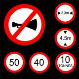 Six Round Prohibitory Road Signs Set 2