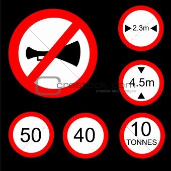 Six Round Prohibitory Road Signs Set 2