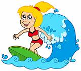 Cartoon surfer girl