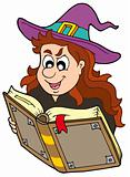Wizard girl reading magic book