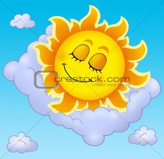 Sleeping Sun with pillow on sky