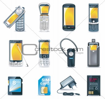 Vector mobile phones icon set