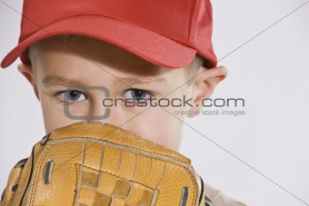 Boy with Mitt and Baseball Cap