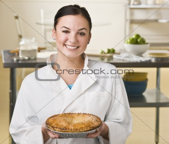 Woman Holding Pie