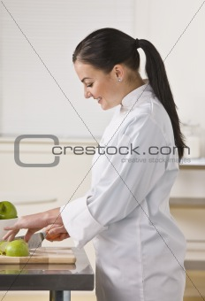 Woman Slicing Apples