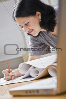 Attractive woman drawing.