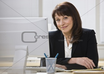 Attractive business woman smiling.