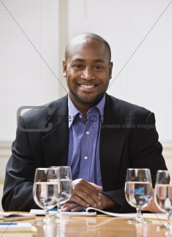 African American male smiling.