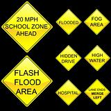 Eight Diamond Shape Yellow Road Signs Set 7