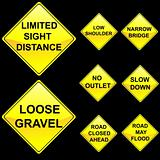 Eight Diamond Shape Yellow Road Signs Set 8