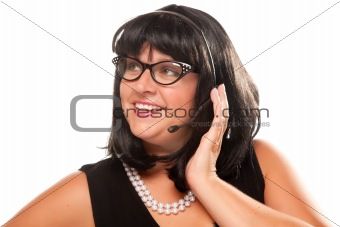Black Haired Retro Receptionist Isolated on a White Background.