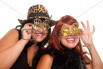 Beautiful Smiling Girls with Bling-Bling Dollar Glasses and Funky Hat Isolated on a White Background.