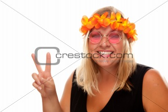 Beautiful Smiling Hippie Girl with Peace Sign Isolated on a White Background.