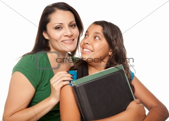 Proud Hispanic Mother and Daughter Ready for School Isolated on a White Background.