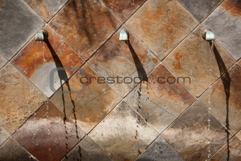Beautiful Stone Wall Water Fountain Row Abstract.