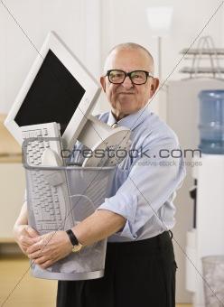 Man Holding Trash Bin