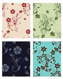 set of color flowers backgrounds