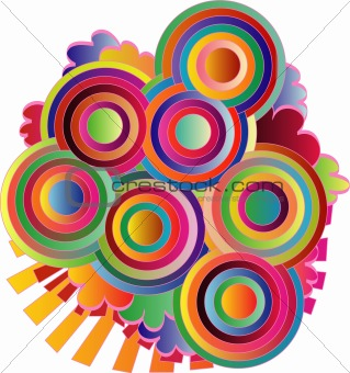 Abstract circles with colorful lines