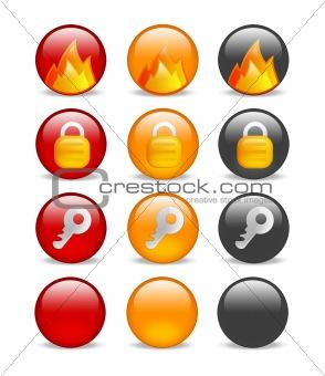circular internet security icon set
