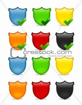 blank multicolored shield icon set