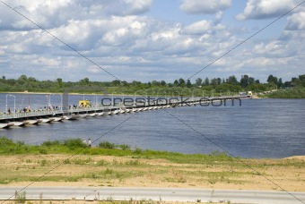 Russia. Pontoon-bridge on river Oka.