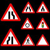 Eight Triangle Shape Red White Road Signs Set 3